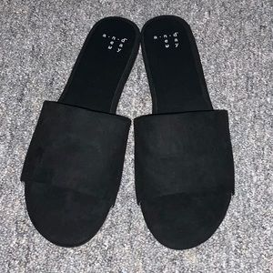 A New Day black suede sandals. Sz 7